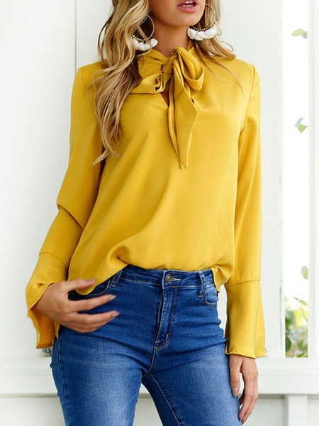 Milanoo Blusa para mujer Camisa casual de manga larga con escote de diseño amarillo
