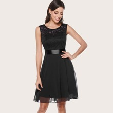 Dressystar Lace Bodice Ribbon Tie Back Dress
