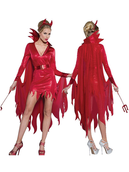 Milanoo Vampire Costume Halloween Red Women Dresses Set