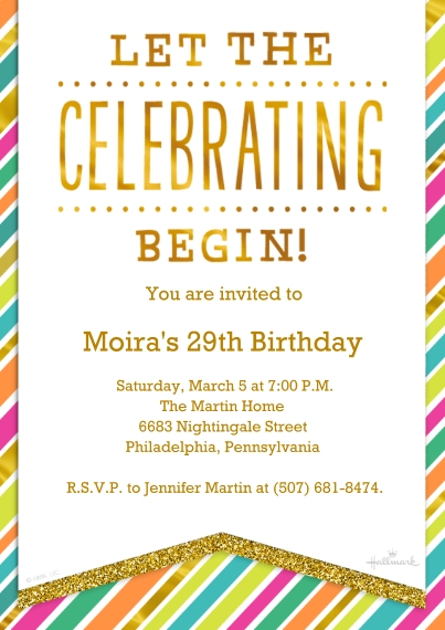 Birthday Party Invites 5x7 Cards, Premium Cardstock 120lb with Rounded Corners, Card & Stationery -Bright Stripes Celebration