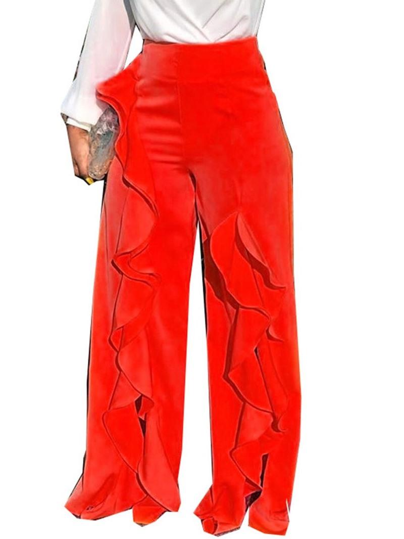Ericdress Loose Plain Falbala Full Length Wide Legs Casual Pants