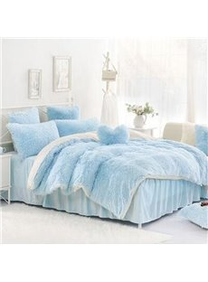 Solid Light Blue and White Warm Fluffy 4Pcs Duvet Cover Set with Zipper Ties