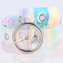 Holographic Clear Buckle Belt