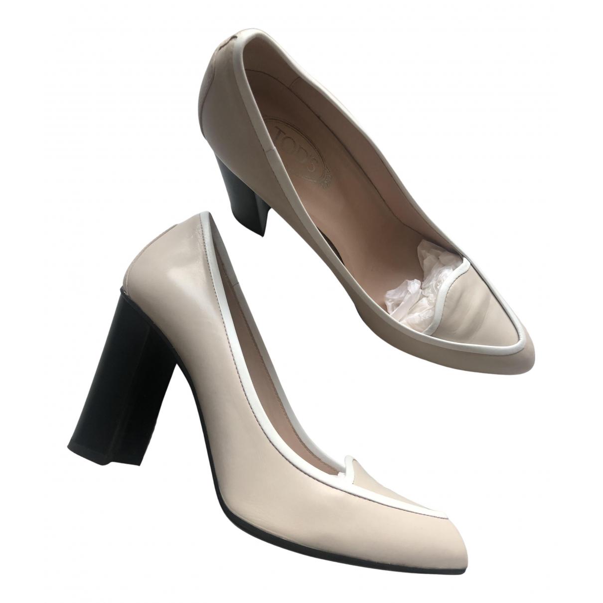 Tod's N Beige Leather Heels for Women 38 EU