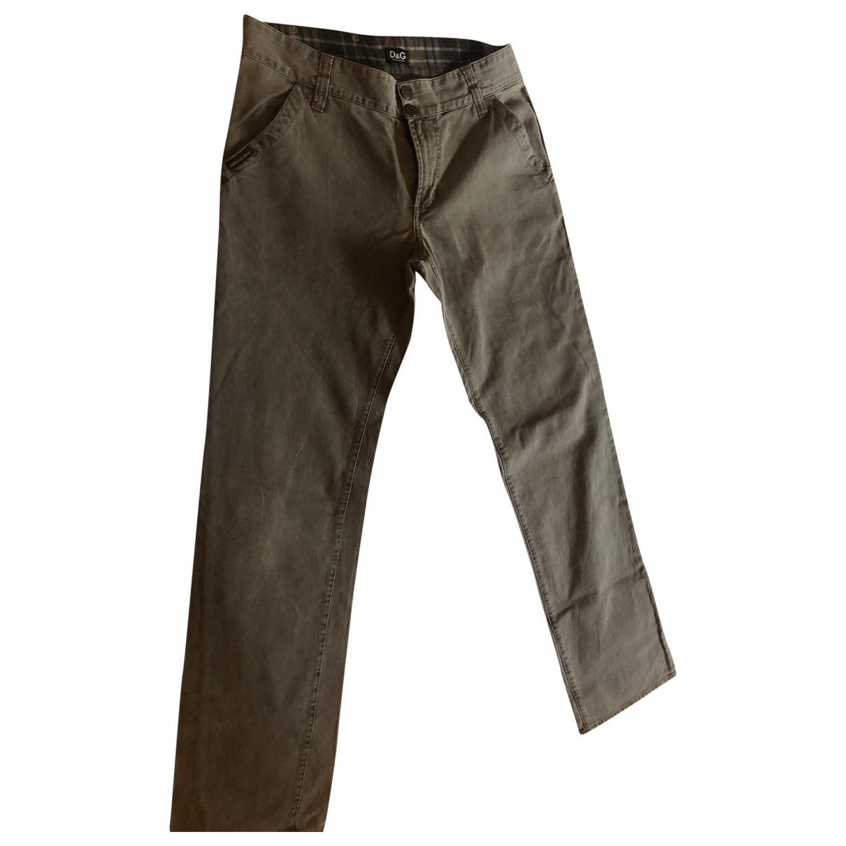 D&g \N Grey Cotton Trousers for Men 48 IT