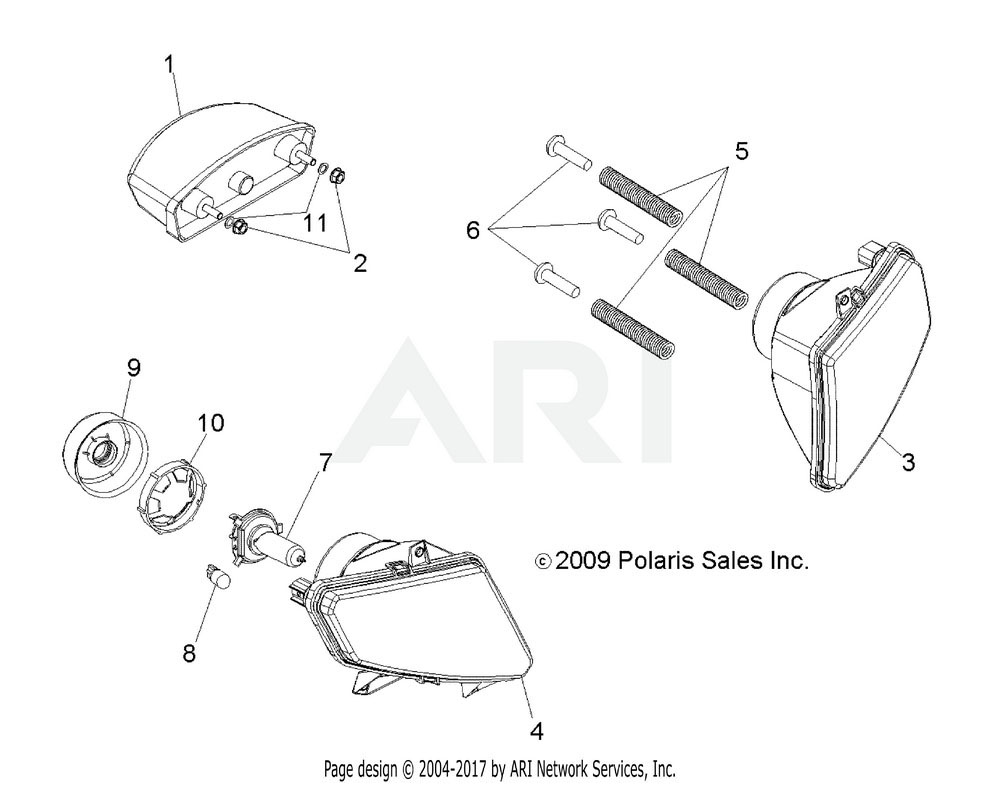 Polaris OEM 2410509 Asm., Headlight, LH | [Incl. 7-10]