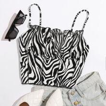 Cami Top mit Ruesche, Naht vorn und Zebra Streifen