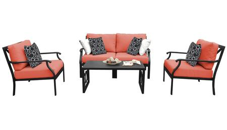 MADISON-05c-TANGERINE Kathy Ireland Homes and Gardens Madison Ave. 5 Piece Aluminum Patio Set 05c with 1 Set of Snow and 1 Set of Persimmon