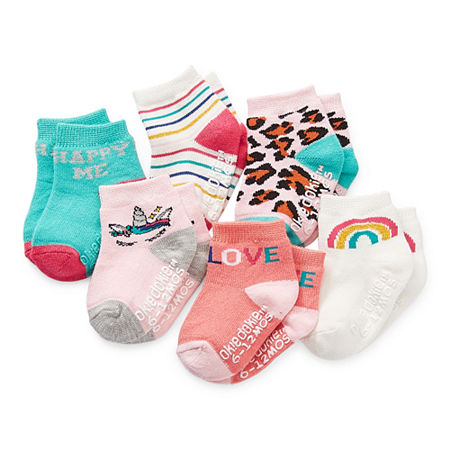 Okie Dokie Baby Girls 6 Pair Crew Socks, 12-24 Months , Pink