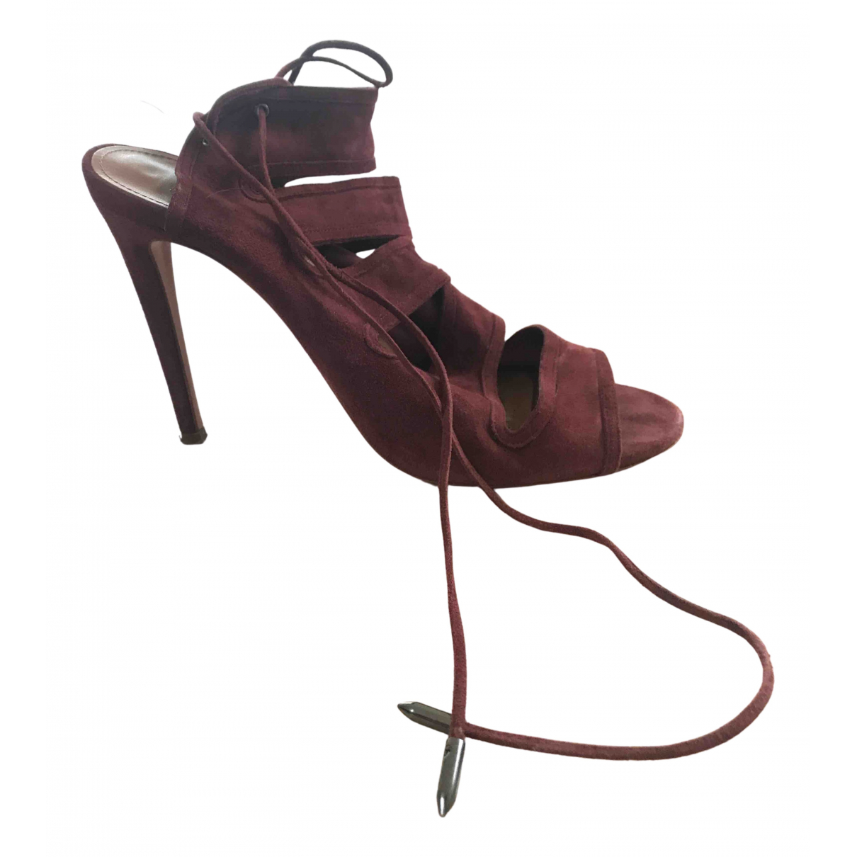 Aquazzura Sexy Thing Sandalen in  Bordeauxrot Veloursleder