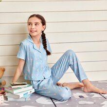 Schlafanzug Set mit Kirsche Muster und Knopfen vorn