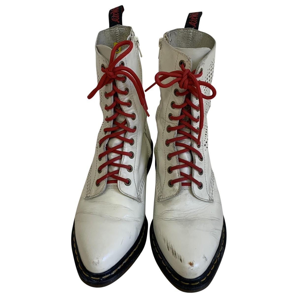 Dr. Martens - Bottes.Boots 1460 Pascal (8 eye) pour homme en cuir - blanc