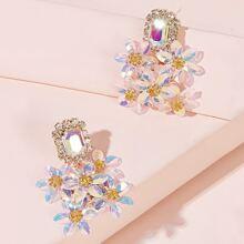 Gemstone Decor Flower Cluster Earrings 1pair