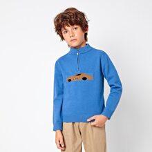 Boys Half Zipper Placket Car Pattern Sweater