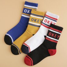 4pairs Guys Letter Graphic Socks