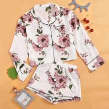 Homewear de Niñas Bolsillo Floral Casual