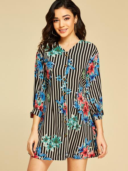 Yoins Multi Button Design Floral Print V-neck Long Sleeves Dress