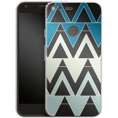 Google Pixel XL Silikon Handyhuelle - Blue Triangles von caseable Designs