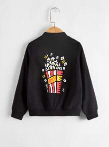 Toddler Boys Popcorn & Letter Graphic Bomber Jacket