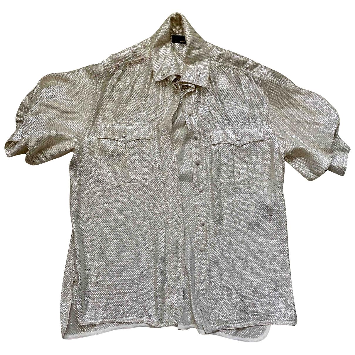 Fendi - Top   pour femme en soie - metallise