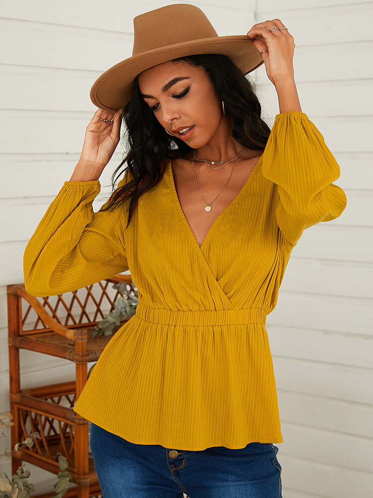 Solid Color Long Sleeve V-neck Pleated Blouse For Women
