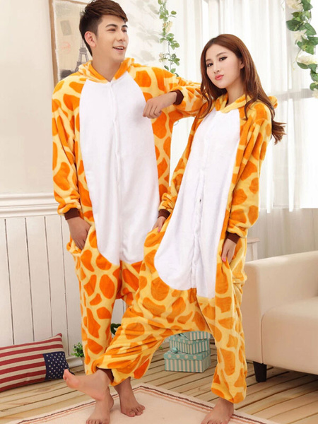 Milanoo Kigurumi Pajamas Giraffe Onesie For Adult Flannel Animal Couple Costume Halloween