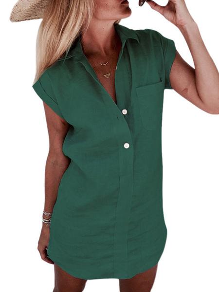 Milanoo Camisa para mujer Verde con cuello en V Casual Manga corta Poliester Algodon Tops