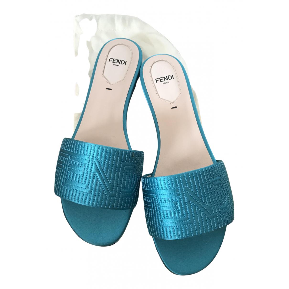 Fendi - Sandales   pour femme en cuir - turquoise