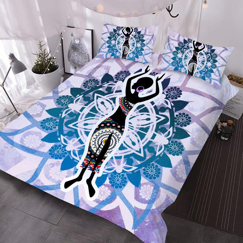 Dancing Indian Microfiber No-Fading Comforter Set 3Pcs 3D Soft Lightweight Comforter with 2 Pillowcases