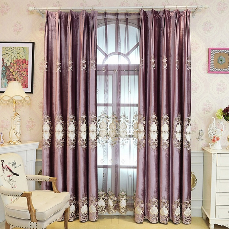 European Purple Chenille Custom Living Room Grommet Curtains Environment-friendly Material 80% Blackout Exquisite Hollow-out Design No Pilling No Fadi