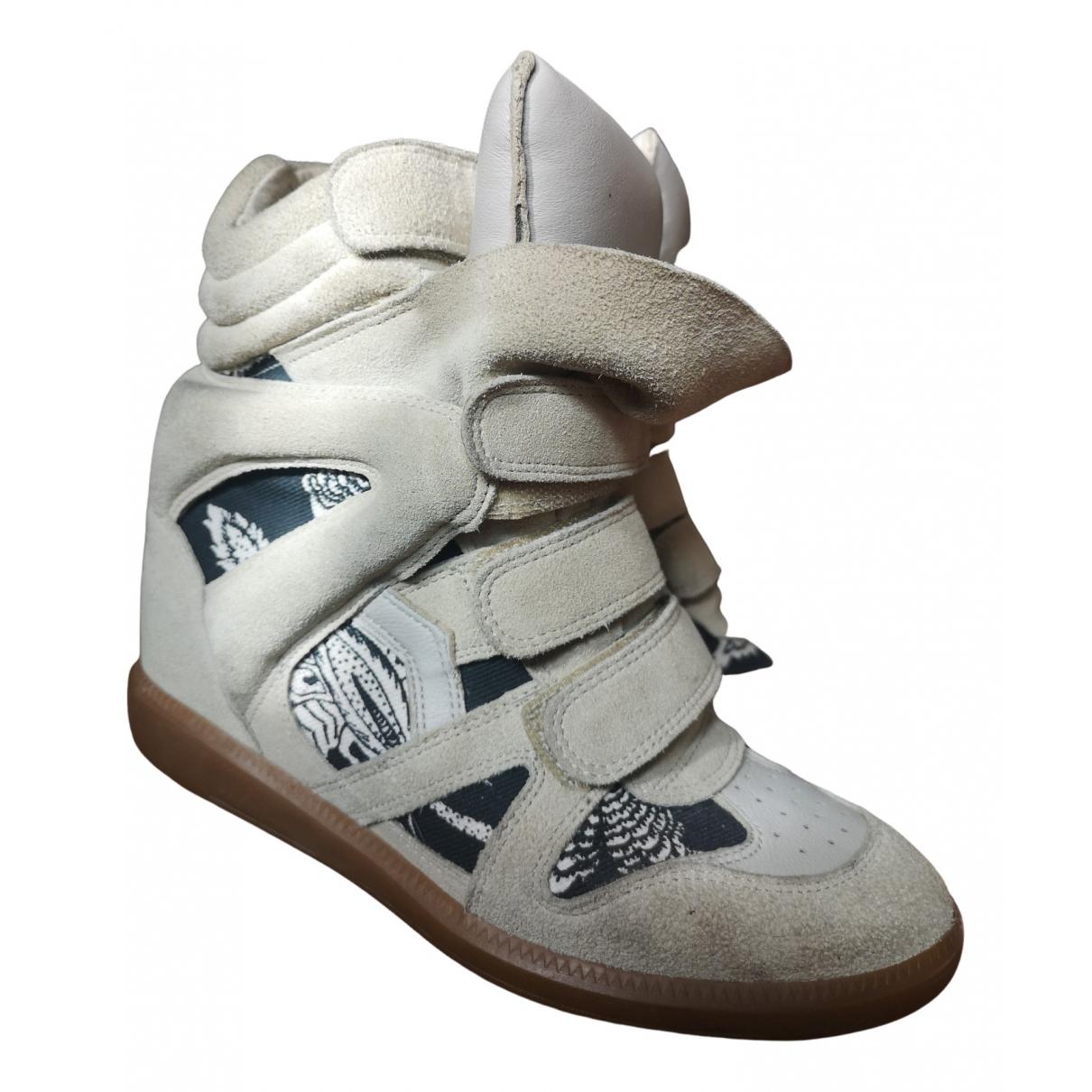 Isabel Marant Beckett Sneakers in  Weiss Leinen