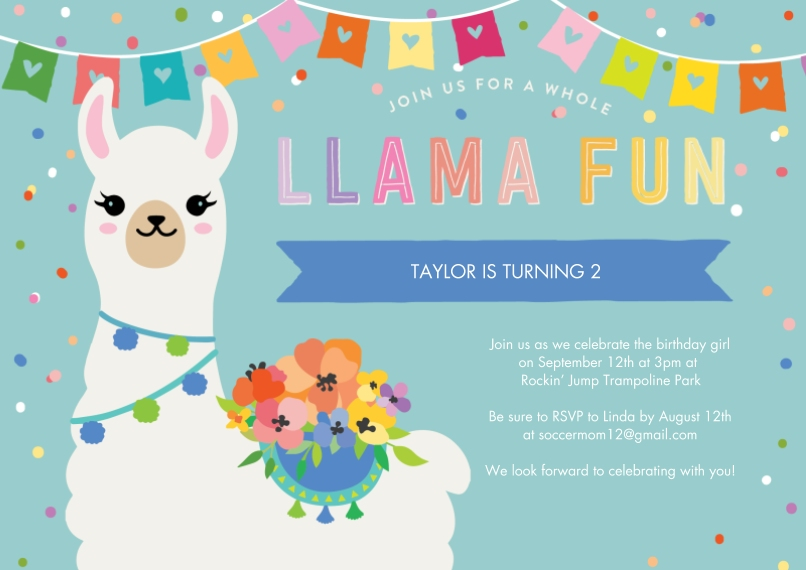 Kids Birthday Party 5x7 Cards, Premium Cardstock 120lb with Elegant Corners, Card & Stationery -Party Invite Lllama Banner by Tumbalina