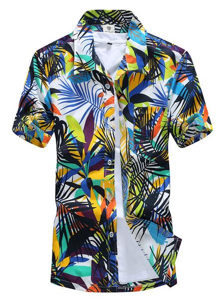 Milanoo Blue Casual Shirt Men Leaf Print Short Sleeve Summer Beach Shirt