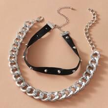 Halsband mit Nieten & Kette 2 Stuecke