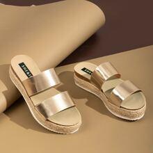 Metallic Dual Vamp Braided Flatform Sandals