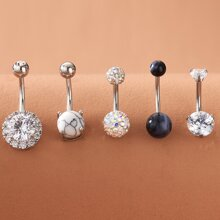 5pcs Rhinestone Decor Belly Ring