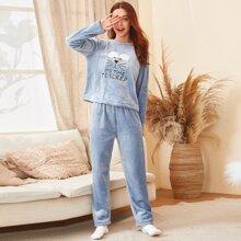 Flanell Schlafanzug Set mit Buchstaben Stickereien