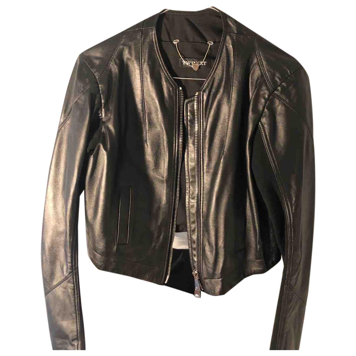 Twin Set - Blouson   pour femme en cuir - noir