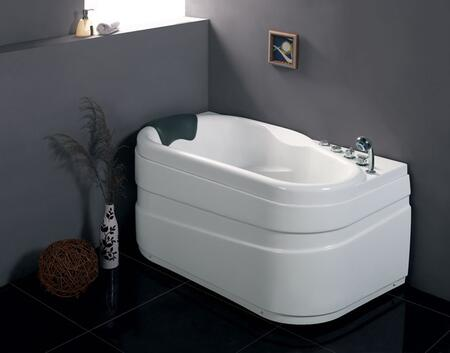 AM175-R Right Corner Whirlpool Bathtub with Acrylic  Chrome Fixtures  1 Person Capacity and 9 Jets in