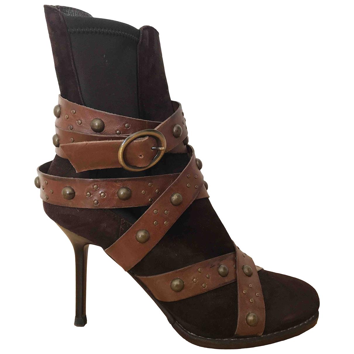 Gianmarco Lorenzi - Boots   pour femme en cuir - marron