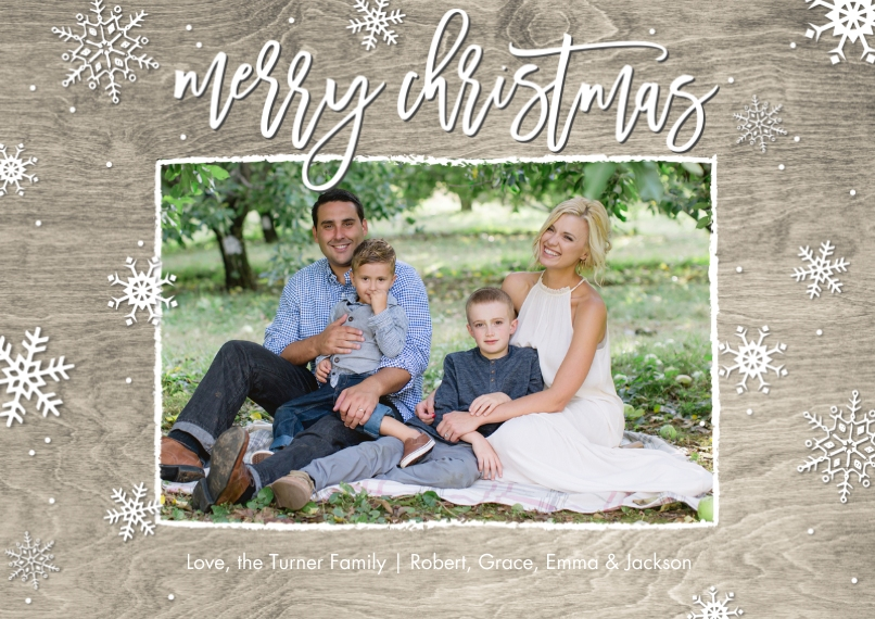 Christmas Photo Cards 5x7 Cards, Premium Cardstock 120lb, Card & Stationery -Christmas Snowflakes Rustic Memories by Tumbalina