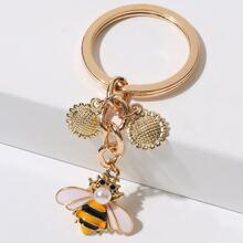 Sunflower & Bee Keychain