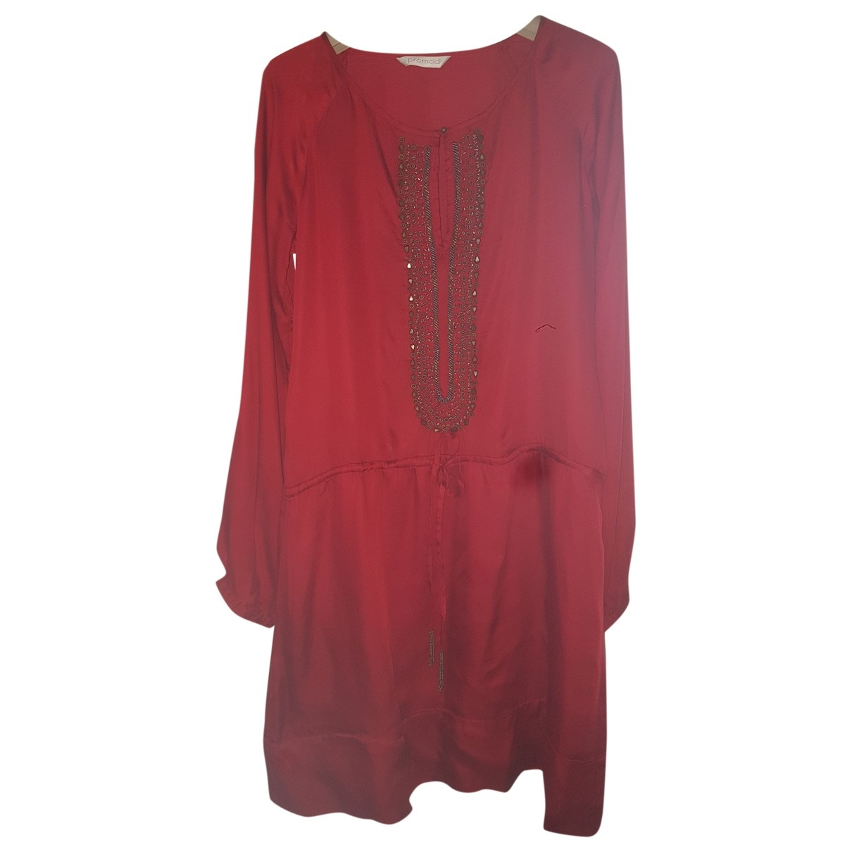 Non Signe / Unsigned Oversize Kleid in  Bordeauxrot Polyester
