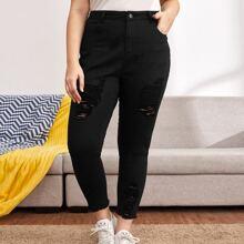 Skinny Jeans mit hoher Taille, hoher Dehnung und Riss