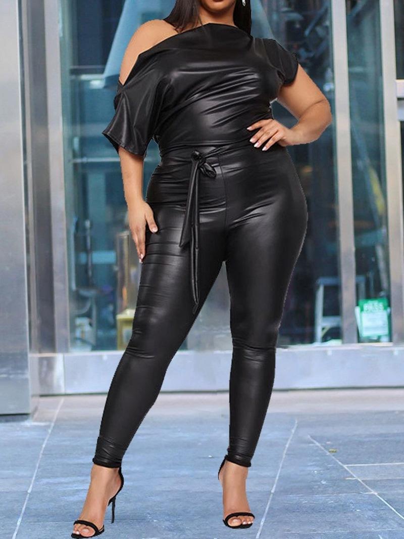 Ericdress Plain Fashion Asymmetric High Waist Pencil Pants Jumpsuit