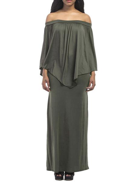 Milanoo Plus Size Clothes For Women Blue Off Shoulder Dress