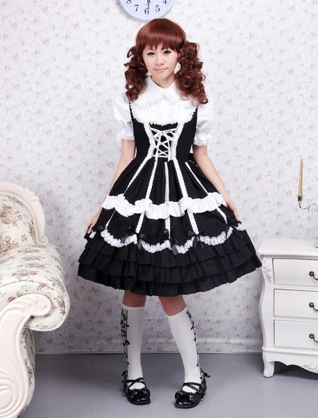 Milanoo Vestido de lolita de algodon nergo con tirantes de estilo dulce