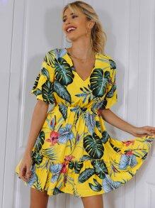 Tie Back Frill Trim Tropical Print Dress