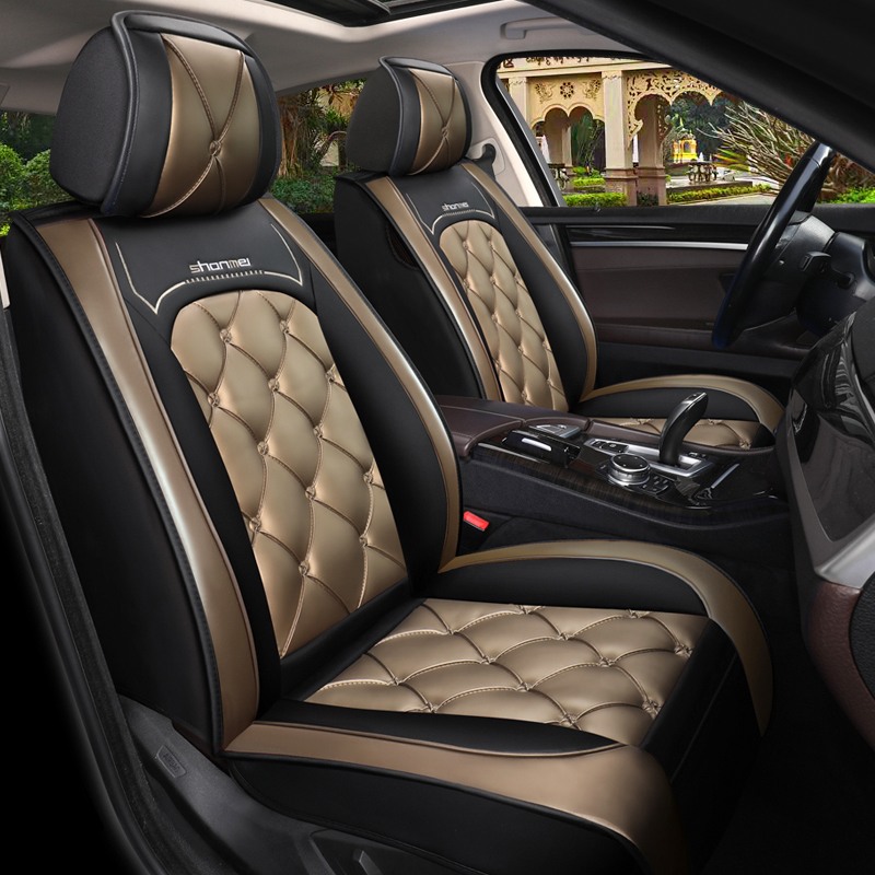 Car Seat Covers Full Coverage Soft Wear-Resistant Durable Skin-Friendly Man-Made PU Leather Airbag Compatible 5-Seater Universal Fit Seat Covers
