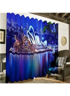 3D Wonderful Opera House in the Seaside Printed Night Scenery Custom Curtain